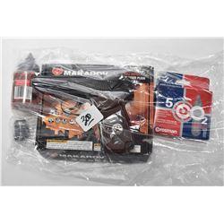 Bag Lot : Makarov .177 Cal Pistol in orig box - 3 Crosman C02 Powerlettes - Screw Lock - Small Bottl