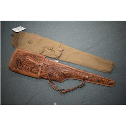 Lot of Two Items : Enfield Canvas Scabbard - Leather Tooled Rifle Scabbard