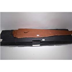Lot of Two Items : Black Plastic Hard Foam Lined Gun Case - Lined Leather Scabbard