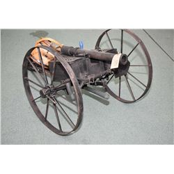 """Hand Made Cannon Approx. 57 """" Total Length w/ 26"""" bbl , Fires Golf Balls , wheels approx. 26"""" Diamet"""