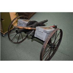 """Large Hand Made Cannon Approx. 64"""" Total Length, 34"""" barrel, Fires Golf Balls, w/ approx. 26"""" wheels"""