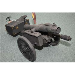 """Small Hand Made Cannon Approx. 24"""" Overall Length, 14"""" barrel, c/w ammo box, one ball, three piece o"""