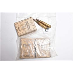 Bag Lot : Three ( 10 rnds per ) 7.5 MM Military Ammo in old open boxes Dated 1924