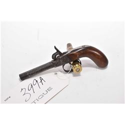 """Antique - Unknown Model Queen Anne Style .40 Perc Cal Single Shot Pistol w/ 3"""" octagon bbl [ patchy"""