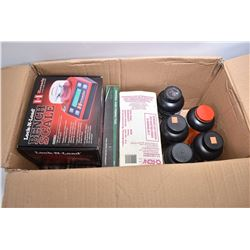 Box Lot : Reloading Misc Including : Reloading Manuals, Hornady Electronic Bench Scale, RCBS Univers