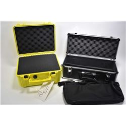Lot of Two Items : Hard Luggage Style Case for Spotting Scope - UK Yellow Hard Plastic Case