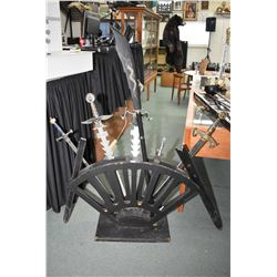 Black Half Circle Sword Stand [ with some damage ] c/w Five Reproduction Swords [ two have scabbards