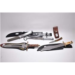 Lot of Five Knives w/ scabbard including : Old Timer Folding - One w/ stag style handle - One w/ bra