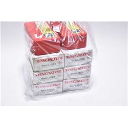Bag Lot : Six Boxes ( 50 rnds per ) Winchester .9 MM Luger Cal Ammo - Plus Red Plastic Box w/ 25 rnd