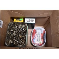 Box Lot : Metal Tin w/ approx. 486 rnds .357 Mag Cal Reloads - Plastic Container w/ approx. 189 rnds