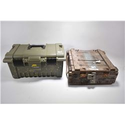 "Lot of Two Items : Wooden Military "" Grenade Crate"" with orig lock & key - Green Plano Plastic Shoot"
