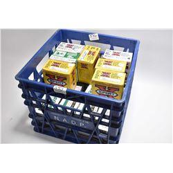 """Blue Plastic Crate : Approx. Seventeen Boxes ( 25 rnds per ) Various .12 Ga 2 3/4"""" & 3"""" Shot Shells"""