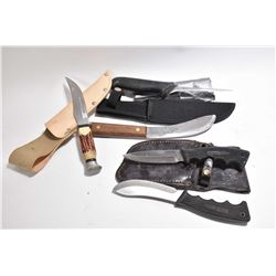 Bag Lot : Coleman Double Knife Set w/ sheath - Ramontina Knife w/ stag like handle & sheath - Old Hi