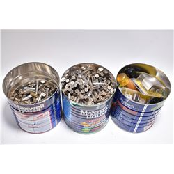 Lot of Three Lg Tin Coffee Cans : Approx. 500 Rnds .38 Spec 158 Grain Ammo - 4 Pkgs California Shoot