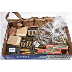 Tray Lot : Ammo Including : Ammo in clips in canvas carrier - .303 Brit Enfield Mag ONLY - Various M