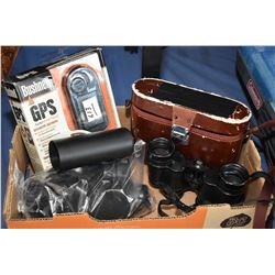 Tray Lot : Nikon 7 x 35 Binoculars w/ orig case - New in Pkg Bushnell Onix 200 Hand Held GPS - Sun S