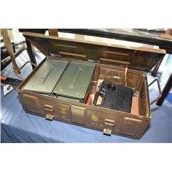 Brown Metal Ammo Locker : w/ two green metal ammo boxes - one empty Sig Sauer plastic pistol case -