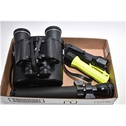 Tray Lot : Pentax 7 x 50 Binoculars w/ case - Two Flashlights [ Pelican Sabrelite 2000 Submersible ]