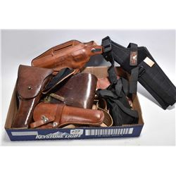 Tray Lot : Seven Various Holsters [ one is U.S. Marked ]
