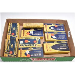 Tray Lot : Dominion Collector's Ammo - One Box ( 20 rnds ) .358   Win Cal Ammo - 4 Boxes( 20 rnds pe