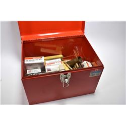 Red Metal Tool Box : Variety of Ammo : .303 Brit Cal Ammo - .45 Auto - .300 Win Mag - 6.5 x 55 - .44