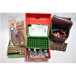 Lot of Two Items : Tray Lot : Red Case w/ eight various dies - Pachmayr Checkered Pistol Grip in pkg