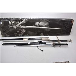 Lot of Two Replica Swords - One in Box Talon The Sword of Krgl - Japanese Style w/ black scabbard