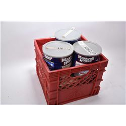 Red Plastic Crate : Approx. 800 .45 Auto Cal Brass Once Used - . 45 Colt Brass - Tin Full .45 Auto -