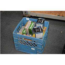 """Blue Plastic Crate : Full of Various .10 & .12 Ga Shot Shells [ 3 1/2 """" & 2 3/ 4"""" )"""