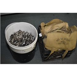 Lot of Two Items : 5 Gal Plastic Pail 4/5 Full .38 Spec Cal Brass - Blk Plastic Crate : Canvas Mess