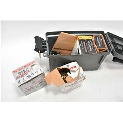 Green ammo box with 45 auto, 22lr, and 12ga