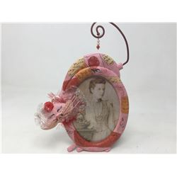 Smiling Pink Cat Photo Frame