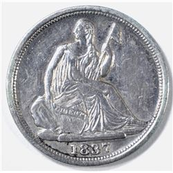 1837 NO STARS SEATED LIBERTY HALF DIME AU