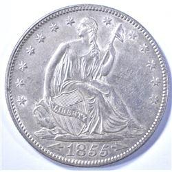 1855 WITH ARROWS SEATED HALF DOLLAR, AU/BU