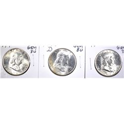 1948, 48-D & 49 GEM BU FRANKLIN HALF DOLLARS