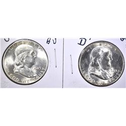 1949-D & 49-S GEM BU FRANKLIN HALF DOLLARS