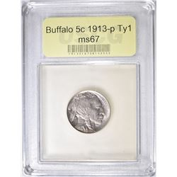 1913 TYPE 1 BUFFALO NICKEL  USCG SUPERB GEM