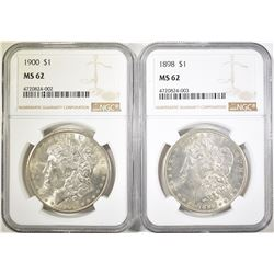 1898 & 1900 MORGAN DOLLARS  NGC MS-62