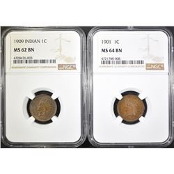 2 NGC GRADED INDIAN HEAD CENTS; 1- 1901 MS-64 BN &