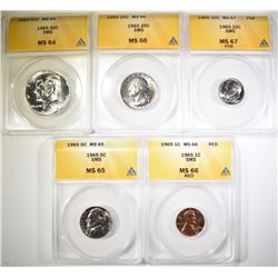 1965 SMS COINS SET ALL ANACS GRADED: