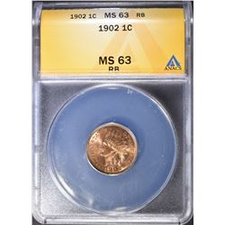 1902 INDIAN HEAD CENT  ANACS MS-63 RB