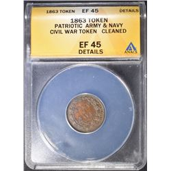 1863 CWT ARMY & NAVY  ANACS EF-45 DETAILS