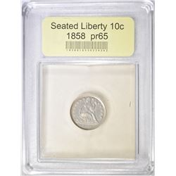 1858 SEATED LIBERTY DIME  USCG PROOF GEM BU