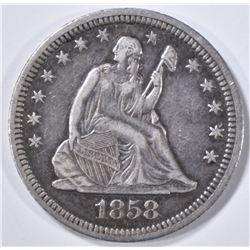 1858 SEATED LIBERTY QUARTER  XF/AU