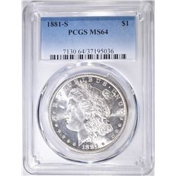 1881-S MORGAN DOLLAR   PCGS MS-64