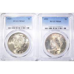 1922 & 1925 PEACE DOLLARS  PCGS MS-64