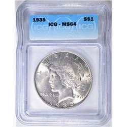 1935 PEACE DOLLAR  ICG MS-64