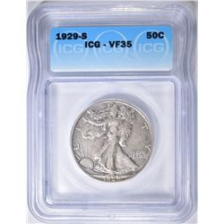 1929-S WALKING LIBERTY HALF DOLLAR  ICG VF-35