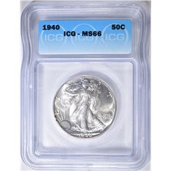 1940 WALKING LIBERTY HALF DOLLAR  ICG MS-66
