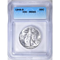 1946-S WALKING LIBERTY HALF DOLLAR  ICG MS-66